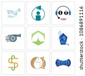 set of 9 simple editable icons...   Shutterstock .eps vector #1086891116