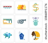 set of 9 simple editable icons...   Shutterstock .eps vector #1086891176