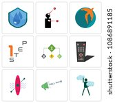 set of 9 simple editable icons... | Shutterstock .eps vector #1086891185