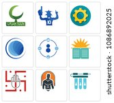 Set Of 9 simple editable icons such as water filter, fitness, jain, sunday school, tidy, globe, transparent gear, sports fan, bismillah, can be used for mobile, web, 48x48 icon