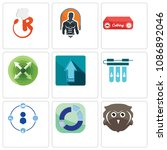 set of 9 simple editable icons...   Shutterstock .eps vector #1086892046