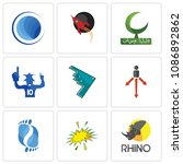 Set Of 9 simple editable icons such as rhino, starburst, podiatry, approach, stealth bomber, sports fan, bismillah, rocket, globe, can be used for mobile, web, 48x48 icon