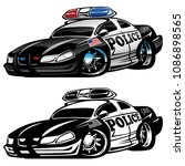 police muscle car cartoon... | Shutterstock .eps vector #1086898565