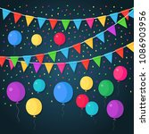 banner with garland of colour...   Shutterstock .eps vector #1086903956