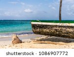a view of a boat on isla... | Shutterstock . vector #1086907772