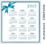 calendar 2013 year with a blue... | Shutterstock .eps vector #108691046