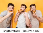 three young delighted men... | Shutterstock . vector #1086914132
