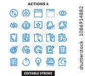 dashed outline icons pack for... | Shutterstock .eps vector #1086914882