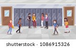 cartoon students in school... | Shutterstock .eps vector #1086915326