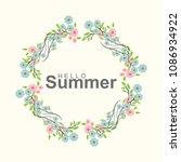 summer greeting card with... | Shutterstock .eps vector #1086934922