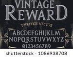 vintage font alphabet... | Shutterstock .eps vector #1086938708