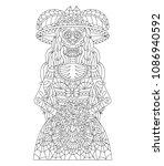 hand drawn mexican sugar skull... | Shutterstock .eps vector #1086940592