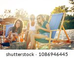 group of young casual female... | Shutterstock . vector #1086946445