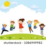 happy children jumping | Shutterstock .eps vector #1086949982