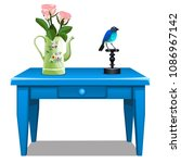blue wooden table with a drawer ... | Shutterstock .eps vector #1086967142