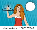 a beautiful girl is holding a...   Shutterstock .eps vector #1086967865