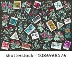 set ot cute floral vector... | Shutterstock .eps vector #1086968576