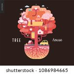tree house concept   a tree... | Shutterstock .eps vector #1086984665