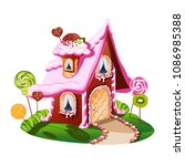 sweet little house with... | Shutterstock .eps vector #1086985388