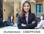 asian business women and group... | Shutterstock . vector #1086991406