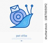 snail mail with envelope thin... | Shutterstock .eps vector #1087005092
