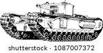 powerful tank with a gun drawn... | Shutterstock .eps vector #1087007372