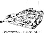 powerful tank with a gun drawn... | Shutterstock .eps vector #1087007378