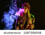 vaping girl. young hipster... | Shutterstock . vector #1087008308
