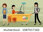 cash desk in a supermarket and... | Shutterstock .eps vector #1087017182