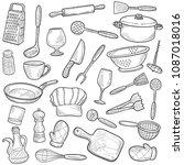 kitchen cooking tools doodle... | Shutterstock .eps vector #1087018016