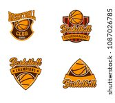 basketball logo badges sports | Shutterstock .eps vector #1087026785