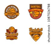 basketball logo badges sports | Shutterstock .eps vector #1087026788