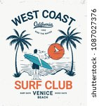 hand drawn vintage surf theme... | Shutterstock .eps vector #1087027376