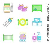 childcare color icons set. baby ... | Shutterstock .eps vector #1087034642