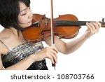 female asian violinist,; isolated on white background - stock photo