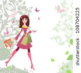 woman strolls the city shopping   Shutterstock .eps vector #108704225