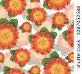 flower pattern  watercolor...   Shutterstock . vector #1087052588