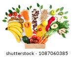 healthy food background.... | Shutterstock . vector #1087060385