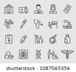 line icons set for medical care ... | Shutterstock .eps vector #1087065356