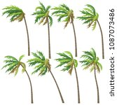set of palm trees on wind storm ... | Shutterstock .eps vector #1087073486