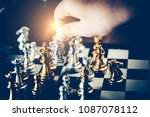 closeup of chess characters on... | Shutterstock . vector #1087078112
