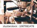 close up barista hand making a... | Shutterstock . vector #1087081478