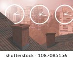 Clock Icons Over Roofs And City