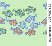 fishes seamless  pattern  ... | Shutterstock . vector #1087087652