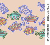 fishes seamless  pattern  ... | Shutterstock . vector #1087087676