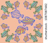 fishes pattern   stylized ... | Shutterstock . vector #1087087682