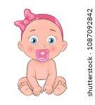 newborn girl toddler with...   Shutterstock .eps vector #1087092842