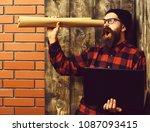 bearded brutal caucasian... | Shutterstock . vector #1087093415