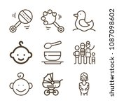 baby related set of 9 icons... | Shutterstock .eps vector #1087098602