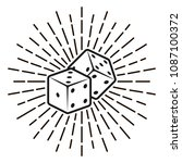 dice with rays vector... | Shutterstock .eps vector #1087100372